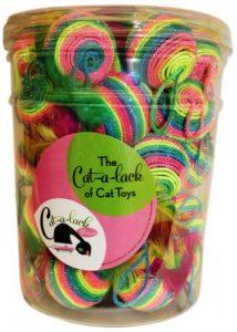 Cat-A-Lack 34pièces Rainbow Feather Balles dans un pot pour animaux de compagnie