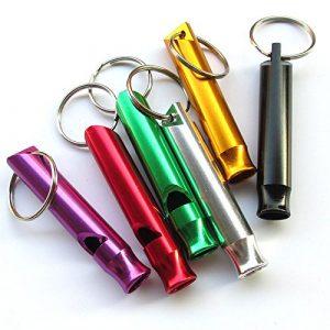 Chenkou Pet Lot de 6sifflets en aluminium d'urgence de survie randonnée Camping Randonnée de dressage de chien Extérieur Sifflet