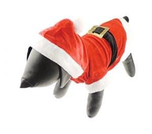 Chien Chat Festive de Noël Rouge Père Noël chaud Hiver Pull Costume de manteau en velours