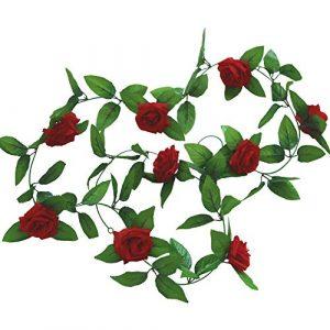 Cupcinu Simulation Fleur Rose Vigne Fleur Artificielle de Fleurs artificielles Simulation Plante Vigne Canne Décoration Mariage Photographie Props, Red, 2.45m