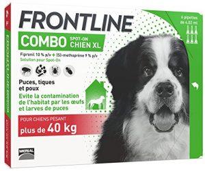 FRONTLINE Combo Chien – Anti-puces et anti-tiques pour chien – plus de 40kg – 6 pipettes