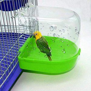 AbuChan Bird Baignoire Bain Boîte à Suspendre Cage de Douche Baignoire pour Parrot, perruches, Nyasa inséparables et Petits Oiseaux, Couleur aléatoire