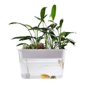 Aquarium Fish Tank-Légumes Poissons Symbiotic Tank Transparent Cultivons Des Plante Aquarium Écologique Paresseux Océan Goldfish Bowl Boîte De Reproduction Écosystème Jardin De La Culture Hydroponique