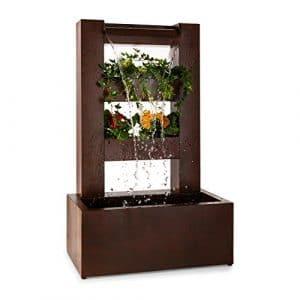 Blumfeldt Lemuria Fontaine de jardin cascade & pot de fleur pompe (convient en intérieur et extérieur, pompe de 30 W pour une circulation constante de l'eau)
