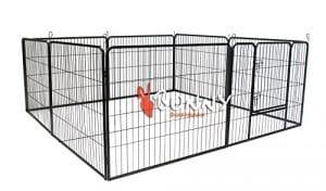 BUNNY BUSINESS Enclos en métal robuste pour chiots ou lapins 8 panneaux Gris acier