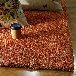 Enkoo Tapis Simple Moderne de Couleur Unie de Style Nordique Salon Table Basse Tapis de Chambre à Coucher Pleine Propagation épais Beige 70cm * 160cm (Color : Orange, Taille : 400cm*500cm)