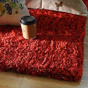 Enkoo Tapis Simple Moderne de Couleur Unie de Style Nordique Salon Table Basse Tapis de Chambre à Coucher Pleine Propagation épais Beige 70cm * 160cm (Color : Red, Taille : 300cm*400cm)