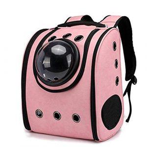 FELICIPP Chat Chien Pet Sac À Dos Chiot Voiture Voyage Sac Space Capsule Sac À Dos Respirant en Plein Air Étanche (Color : Pink)