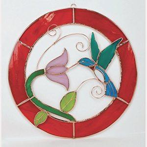 Grand cadre Motif Colibri Rouge cercle Panneau de la fenêtre