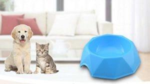 HFjingjing Distributeur d'eau pour Animaux de Compagnie Bol de Chien en Plastique en Forme de Diamant Bol de Chat Unique (Bleu S) Bouteille de Voyage Chat
