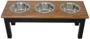 Inconnu Classic Pet Beds 3-bowl quarts de style traditionnel en bois de frêne pour animal domestique Diner, Medium, Espresso/cerise