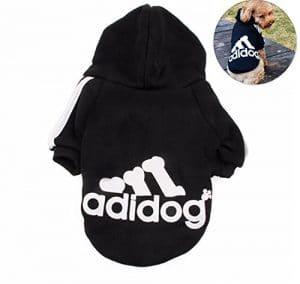 Lomire Vêtement qui tient chaud pour les chiens en hiver, Adidog T-shirt de coton, bien chaude et toute douce, vêtement indispensable pour un hiver bien au chaud–Noir,XL