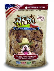 Loving Pets Products It's Purely Natural Treats 4oz-Chicken & Brown Rice W/Whole Cranberries