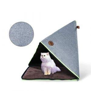 Niche Panier Chat Douillet Maison Pliable pour Chat en EPE et Toile à Intérieur et en Plein Air (65x46x46 CM)