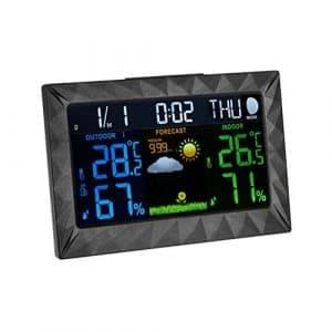 BESTONZON Digital hygromètre Thermomètre Température Humidité Moniteur avec Écran Tactile et Horloge pour intérieur ou extérieur