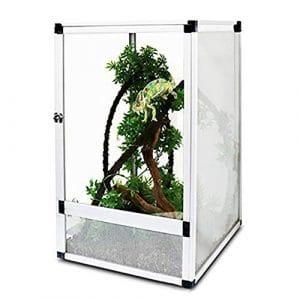 Cage De Reptiles, Cage Caméléon, Full Mesh Design-Porte Acrylique-Combinaison D'épissage D'alliage D'aluminium, Araignée De Reptiles Lézard Amphibie, 66Cmx43cmx43cm
