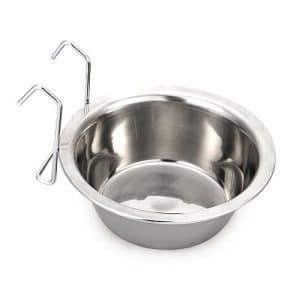 Gzq pour animal domestique Bol de nourriture en acier inoxydable à l'eau Feeder Cage Coop Gamelle avec crochets pour chiens chats Lapins Lapin Parrot