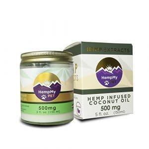 HempMy Pet huile de coco biologique certifiée dose thérapeutique infusé avec des extraits de chanvre biologique colorado – peau, manteau, digestion, réactions allergiques, la douleur