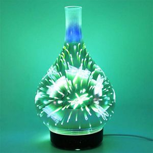 H-sunshy Machine en Verre d'aromatherapy 3D, humidificateur coloré d'arome de Couleur de dégradé de LED, approprié aux Chambres sèches d'air, 100 ML, 2 Bases à Choisir.