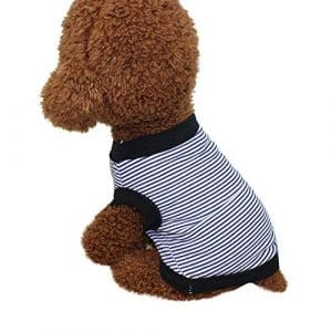 KariNao_Pet Clothing Chien Mignon T-Shirt pour Chien Mignon Chiot Vêtements à Rayures Coton pour Animal Domestique Vêtements Neuf (XL, Bleu)