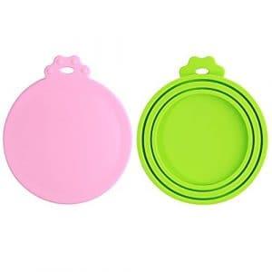 Lot de 2 Universels Couvercles Silicone de Conserve Pour Chien Chat Alimentaire – sans BPA et soutenir lave-vaisselle – Couverture Peut Utilisé avec Trois Tailles de Nourriture en Boite (Rose+Vert)