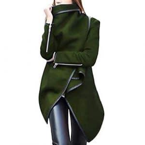 Piebo Femme Long Cardigan Irrégulière Zippé Crop Solid Veste Élégant Manches Longues Haut Veste Couleur Unie Mode Blouson Hiver Grande Taille Femme Chaud Tunic Manteau Asymétrique Tunique Coupe-Vent