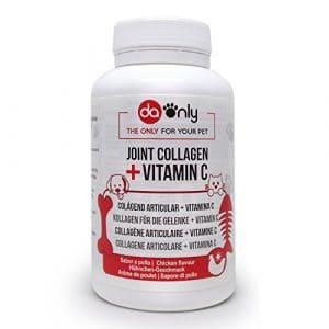 Collagène et magnésium pour articulations et arthrose de chiens et chats, collagène avec arôme de poulet, vitamines C et D, anti inflammatoire naturel, appui traitement arthrose chien et chat DAONLY