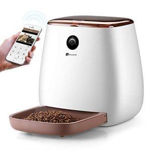 Distributeur Automatique de Nourriture avec WIFI Caméra HD 1080p Houzetek Distributeur électronique de Croquettes pour Animaux Chiens et Chats Messagerie Vocale Vision Nocturne 3.3L