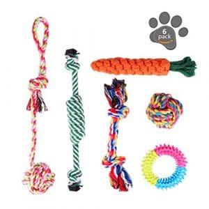 Ensemble Lot de 6 de jouets pour chien, durables mâcher corde jouet solitude petits et moyens chiens santé