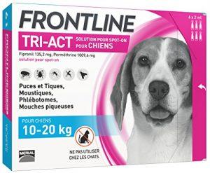 FRONTLINE TRI-ACT Chien – Anti-puces et anti-tiques pour chien – 10-20kg – 6 pipettes