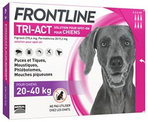 FRONTLINE TRI-ACT Chien – Anti-puces et anti-tiques pour chien – 20-40kg – 6 pipettes
