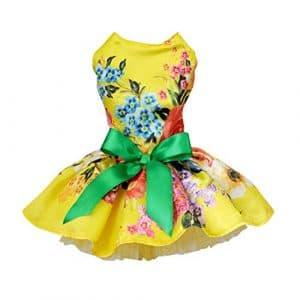 Handfly Robe brodée pour Chiot et Chiot Robe de Princesse Robe de mariée pour Chiens de Petite Taille