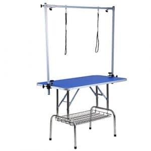Homgrace Table de toilettage Pliante pour Chien avec Surface antidérapante et 2 Pieds réglables en Hauteur et 2 galeries pour Chien Chat Bleu