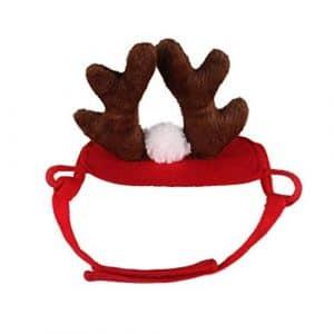 iStary Chapeau de Chien de noël Chapeau de Chiot Chapeaux de Noël Rouge Bois pour Animaux de Compagnie Chapeau Chapeaux Tenues Confortables Accessoires pour Petits Chiens et Chats