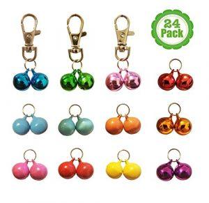 Lot de 24 clochettes pour collier de chat/chien Rouge / bleu / orange / vert / rose / violet