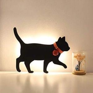 Lumières De La Silhouette Romantique Night Lights Cat Cat Capteur Lumières Voices Noir Chat Capteur Veilleuses Couloir Couloir Chevet Salon Chambre Creative,A