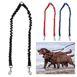 PETBABY Bungee Double Chien Coupleur Plomb, Pas de Tangle Deux 2 Chien Laisse et Splitter pour la Marche Chiot Petit Moyen Grand chien (Noir)