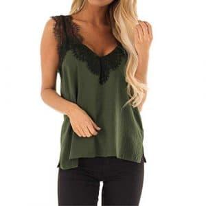 Saihui_Women Tops – Débardeur – Femme – Vert – S