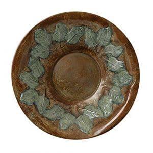 Achla Bp16t 40,6cm Laiton antique Base filetée Birdbath Lavabo avec feuilles vertes