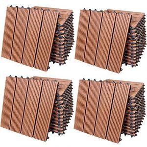 Deuba – Dalle de terrasse • 44 Dalles • Bois Composite Brun Type Classique • 30×30 cm – Dalle Jardin extérieur