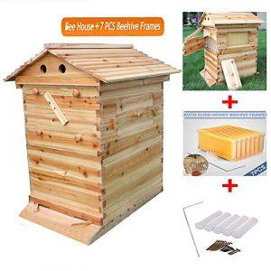 Hengyuanyi Boîte en Bois pour Abeille avec 7 Cadres en Ruche Outils pour l'Apiculture Miel Autocollant F-L-O-W-I-N-G Fournitures de Ruche pour Apiculteur