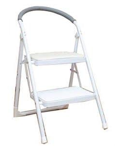 MXYBD Step Ladder Tabouret Pliant léger et Anti-dérapant Échelle Robuste en Acier avec poignée Anti-dérapante et pédale Large (Couleur : Blanc)