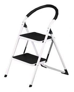 MXYBD Step Ladder Tabouret Pliant léger et Anti-dérapant Échelle Robuste en Acier avec poignée Anti-dérapante et pédale Large (Couleur : Noir)