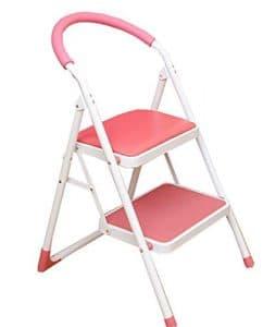 MXYBD Step Ladder Tabouret Pliant léger et Anti-dérapant Échelle Robuste en Acier avec poignée Anti-dérapante et pédale Large (Couleur : Rose)