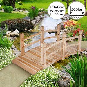 Pont de jardin   140x60x53cm, pont d'étang Passerelle en bois   Décoration Extérieure Pont d'étang Pond de Bassin