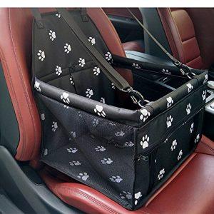 Siège d'appoint de voiture pour le chien, HomeYoo Housse de transport pour animal domestique avec ceinture de sécurité – Sac étanche, tapis de coussin de voiture pour chien et chat (Noir)