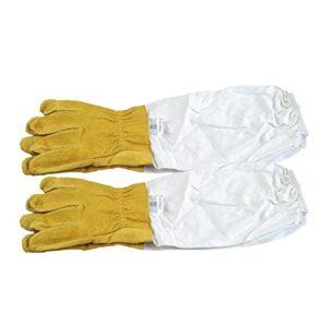 Gants d'apiculture Gants de Protection en Peau de Mouton Manches Longues Durable Parfait pour l'apiculteur débutant (Jaune)