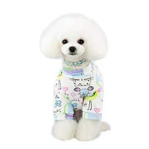 Hawkimin Vêtements pour Chien Mops Pet Printemps et été Imprimé Costume pour Chien