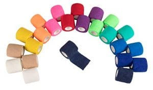 Juvale Self adhérente Wrap–Lot de 24Bandage cohésif médicale vétérinaire ruban adhésif de premiers secours, Sports, poignet, Cheville en 12couleurs 2rouleaux, 5,1cm X 4,6m