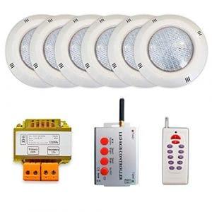 Pack 6 projecteurs LED RGB + Synchroniseur de télécommande + Transformateur de sécurité (6 projecteurs)